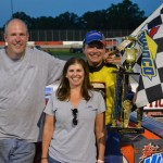 2013 Open Sportsman Track Champion, Bobby Reuse celebrates one of his wins in victory lane at Montgomery Motor Speedway.